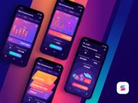 Solar Power app screens product design product dark ui dark app icon logo stats app power solar gradient branding interface ui