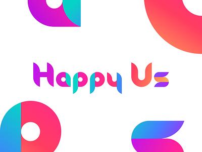 Happy Us Logo brand style brand identity colorful logotype bright gradient brand branding logo