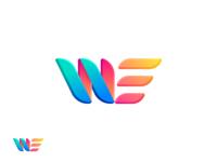 WE logo fake 3d 3d colorful gradient bright logo design logotype we brand branding logo