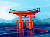 Japan 日本 ⛩️ travel temple contrast bright gradient graphic procreate 5x procreate torii illustration japan