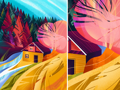 Carpathians travel vacation forest nature mountains bright procreate colorful illustration