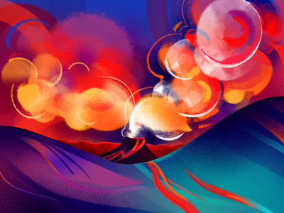 Fagradalsfjall Volcano fire nature iceland volcano procreate colorful bright illustration