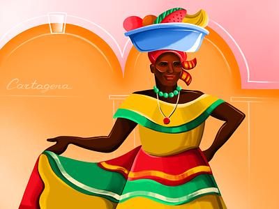 Palenquera latin america traditional woman cartagena procreate illustration bright colorful