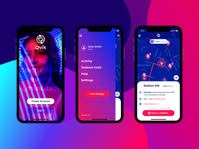 Power bank rental app product design ux location app rental gradient interface colorful bright ui