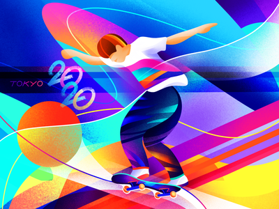Olympics | Skateboarding jump neon sportsman skateboarding skate sports bright procreate illustration tokyo olympics
