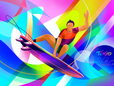 Olympics | Surfing athlete graphic design abstract wave gradient colorful bright procreate illustration sports surfing tokyo 2020 olympics