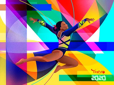 Olympics | Artistic gymnastics athlete sports tokyo olympics gymnastics colorful bright procreate illustration