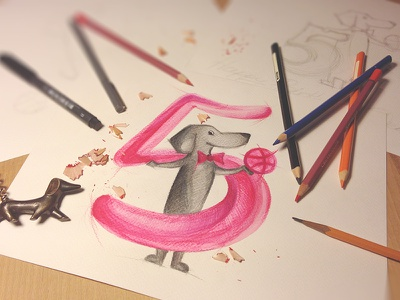 Tubik Loves Dribbble! drawing sketch painting illustration dribbble birthday dog congrats rebound