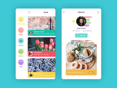 Blog App ios app dashboard application feed sidemenu profile interface icons blog ux ui