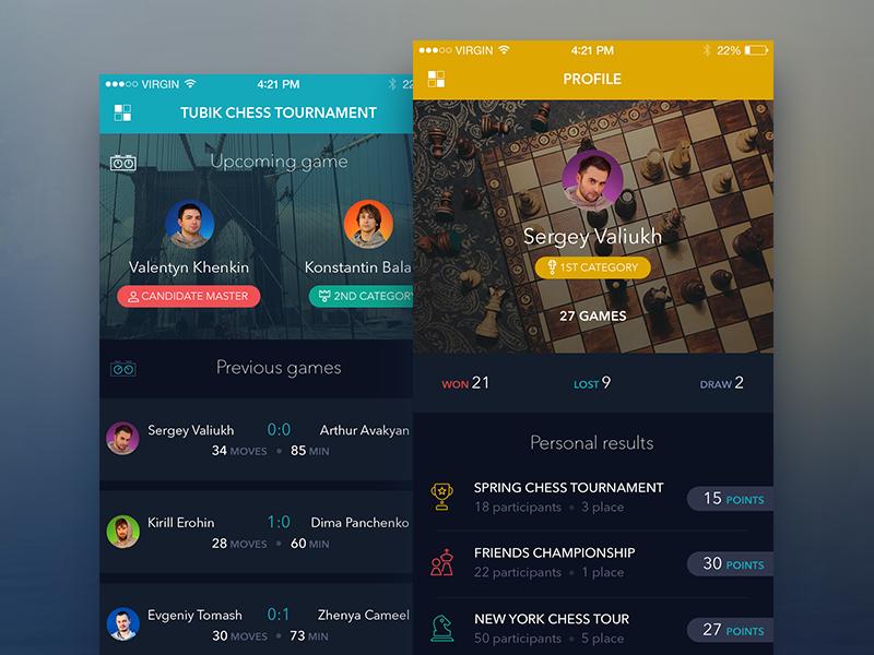 Chess App by Ludmila Shevchenko for tubik on Dribbble