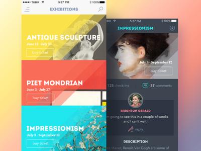 Art Gallery App feed sketch dashboard art gallery app timeline ios flat interface ux ui