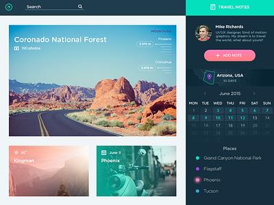 Travel Notes App social website dashboard color app calendar travel web flat interface ux ui