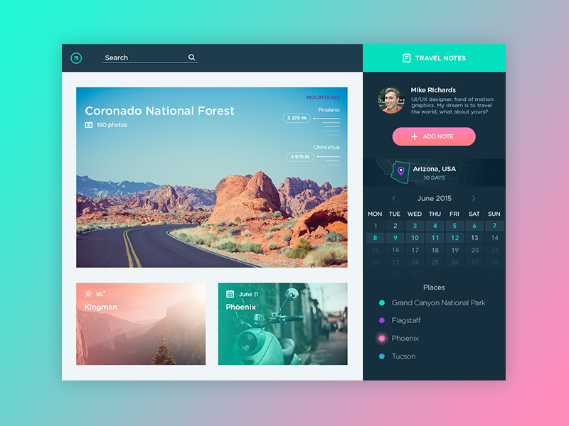 Travel Notes App social website dashboard color app calendar travel web flat interface ux ui