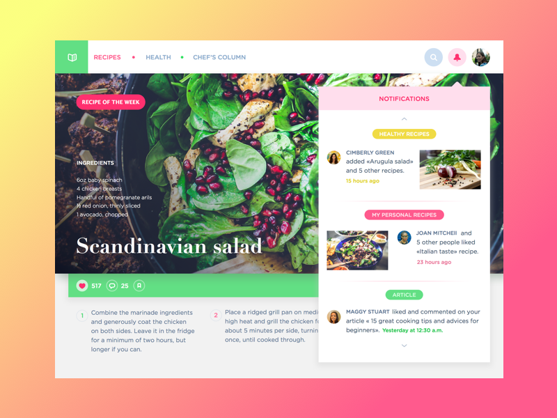 Cooking Website colorful website dashboard color app notification cook web flat interface ux ui