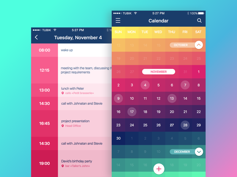 Calendar App ui ux material bright interface color calendar feed application dashboard app ios