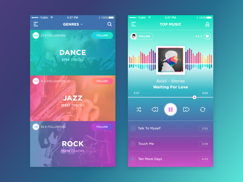 Music App sketch gradient app flat graphic interface ux ui music feed ios application