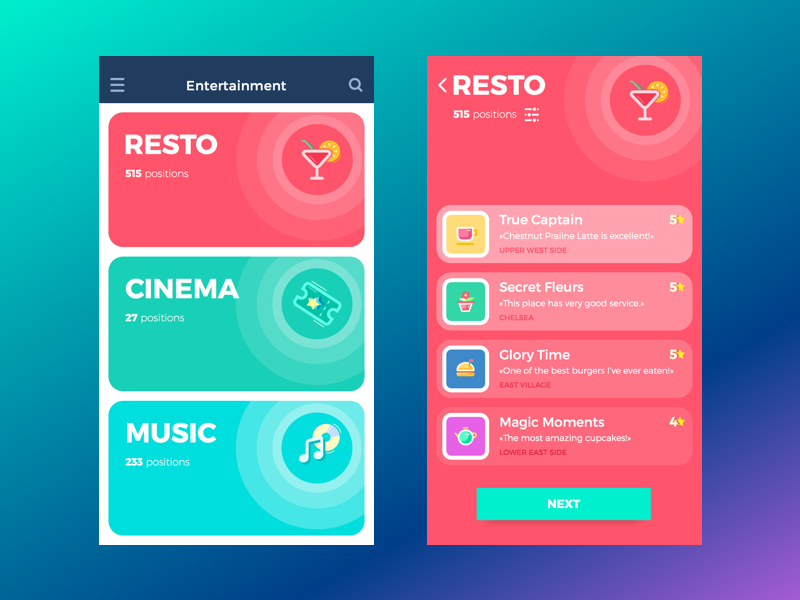 Entertainment App clean illustration bright sketch colorful timeline ios app feed ux ui interface