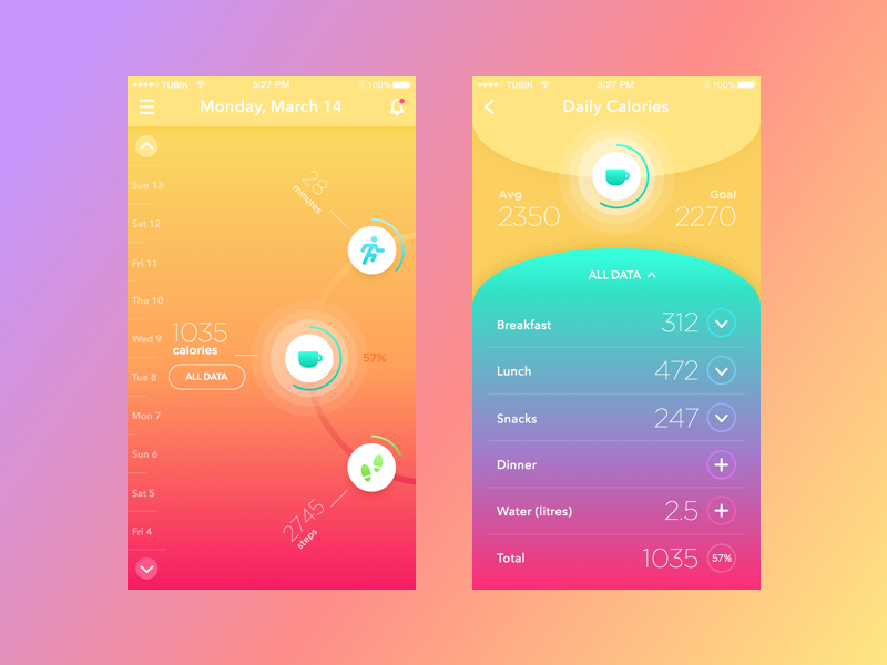 BeBright App concept ios flat app interface application sport fitness bright color ux ui