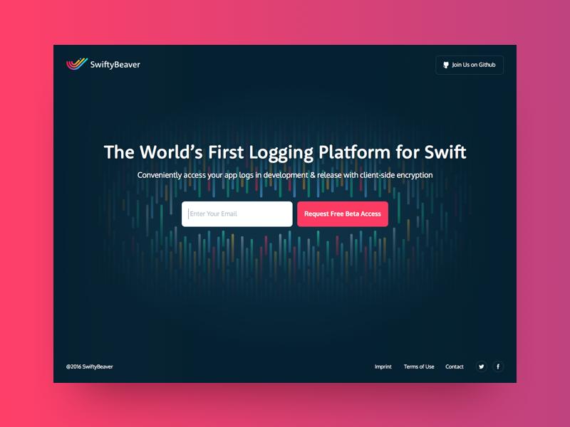 SwiftyBeaver Landing Page mac application dark swift development platform app product web ux ui landing