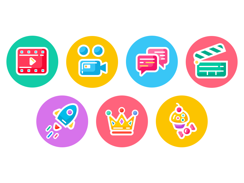 Bright Icon Pack  colorful flat media message rocket set iconography color bright pack icons illustration