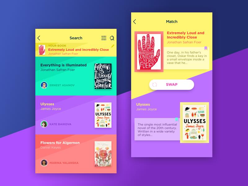 Book Swap App ios minimal interface material flat book concept colorful bright app ux ui