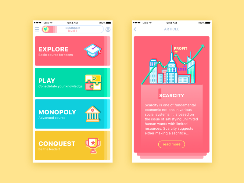 Moneywise App  education card colorful concept illustration economics feed bright app ux ui