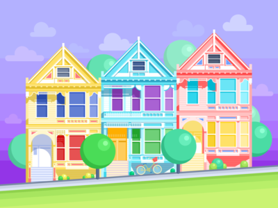 San Francisco Painted Ladies Free Wallpapers building architecture home city street graphic bright san francisco free wallpapers colors illustration