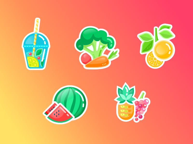 Healthy Stickers flat vegetables vector sketch food fruits healthy icons graphic bright illustration stickers