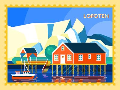 Hallo Lofoten environment vector nature colors bright norway lofoten travel sketch city illustration