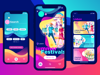Events App – Dark Version lisbon concept ios dark gamification feed events iphone x illustration colorful bright application app ui