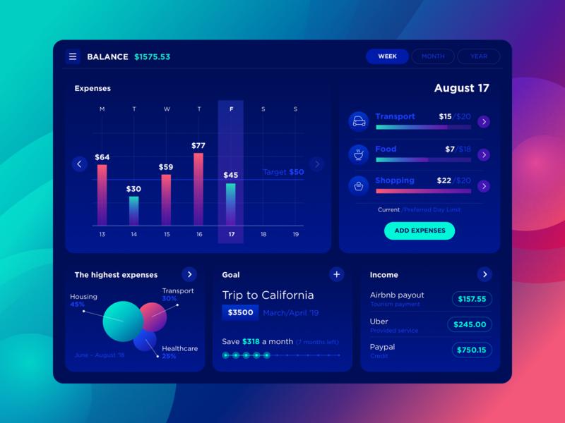 Balance App tracker ios web ux stats interface dark ipad app ui balance finance expense dashboard