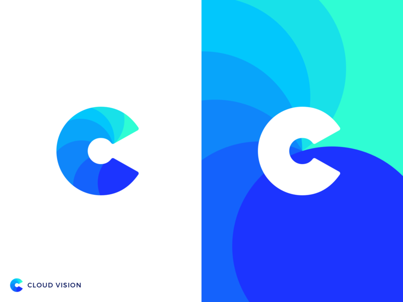 Cloud Vision Logo business service technology consulting vision cloud colorful gradient logotype c logo