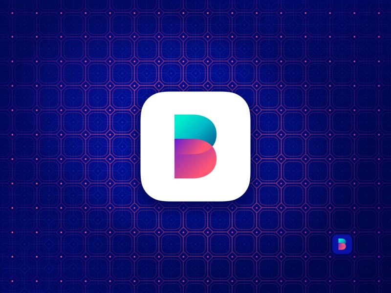 Balance App Icon minimal ui dark blue gradient expense income finance balance app b logotype logo icon ios