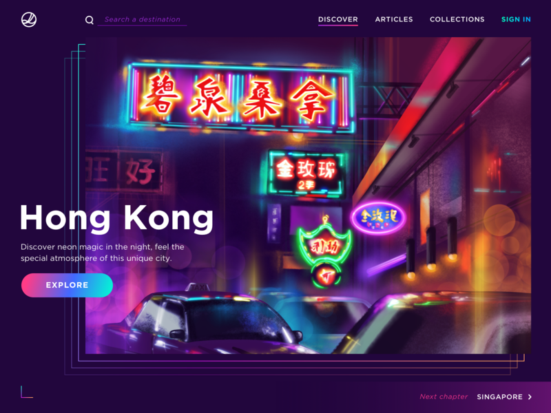 Discover Hong Kong ui web inspiration travel graphic digital ipad night cyberpunk neon hong kong art illustration procreate
