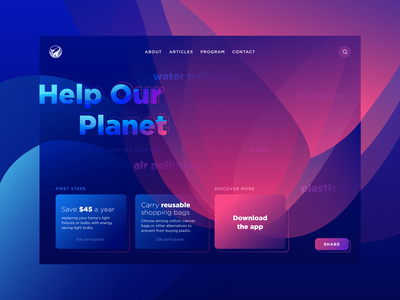 Our Planet Web marine graphic blue sea earth planet water pollution plastic ocean ui concept website web
