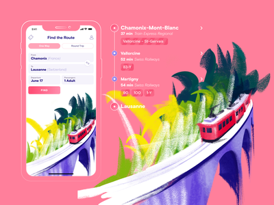 Time to Travel summer vacation trip ios bright colorful brush railroad tickets procreate illustration app ui