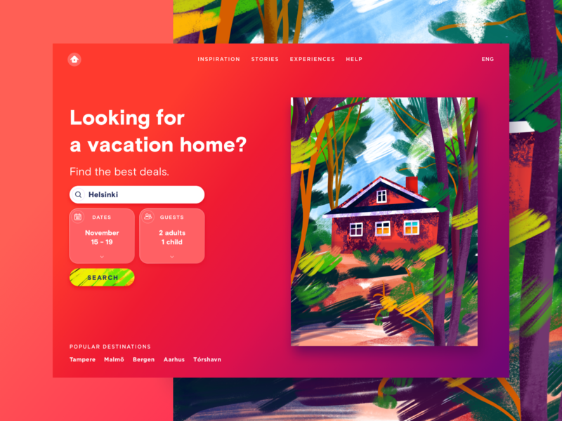 Vacation Home home travel gradient colorful bright procreate illustration vacation web ui