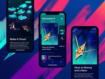 Storyteller App dark app ios study article storytelling art procreate illustration ui