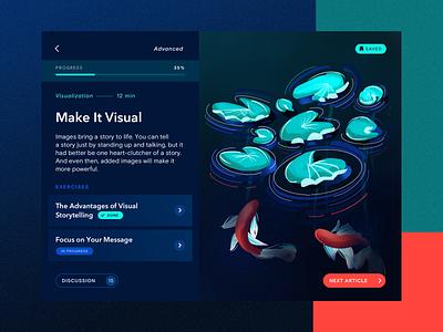 Storyteller app | Course progress course ipad procreate minimal dark bright interface illustration app ui