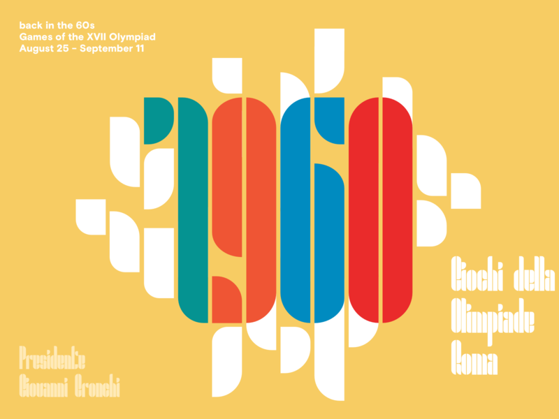 Giovanni Olimpiadi type event vintage colorful olimpics vector poster glyph font