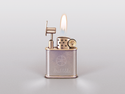 dribbble lighter icon dribbble photoshop vector metel flame fire