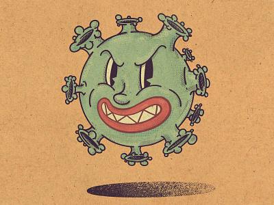 Coronavirus procreate vector art graphic design virus vectorart vintage artwork green yellow flat vector illustration art illustrator illustration funny character character design character coronavirus