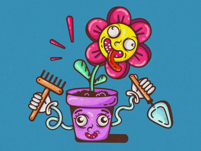 Flower power halftone artwork floral flat funny funny illustration flower vector art vectorart vector illustration vector illustration art illustration character design character funny character