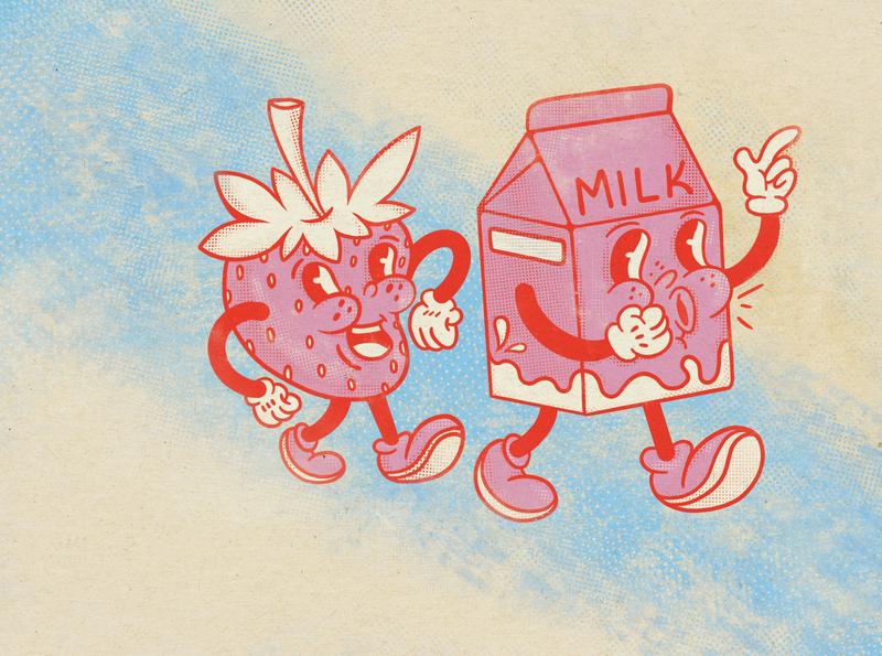 Strawberry milk retro characterdesign characters milkshake scetch apple pencil procreate halftone strawberry milk vintage funny character illustration art illustration character design character