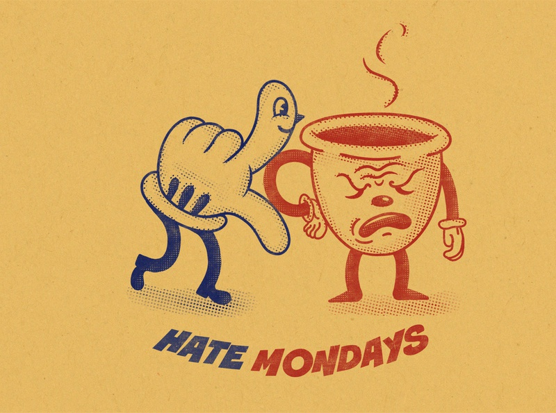 Hate Mondays monday mondays halftones halftone retro hand coffee coffee cup illustrations vintage funny character flat vector art vectorart vector character design character illustration art illustration art