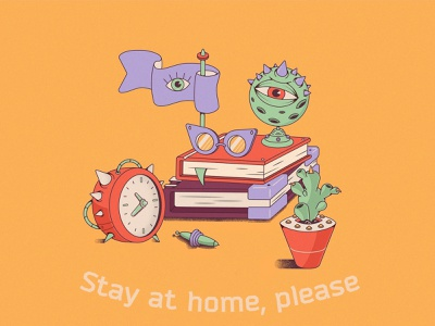 Stay at home books monsters artwork art home workplace covid-19 coronavirus covid19 covid vector illustration illustrator vector flat vector art vectorart illustration art illustration