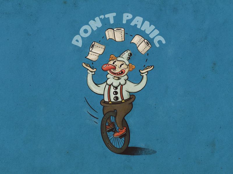 Don't panic 1930s 1930 cartoon character cartoon juggle juggler clown toiletpaper toilet paper coronavirus covid covid-19 covid19 characterdesign illustration art illustration character design character
