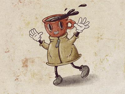 Clarice The Coffee Mug redraw retro cartoon illustration cartoon character halftones halftone coffee mug mug coffee coffee cup 1930 1930s cartoon vintage procreate characterdesign funny character character design character illustration art illustration