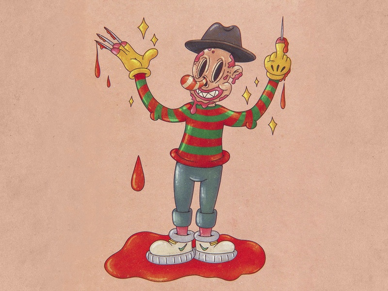 Stop the bloody terror drawthisinyourstyle characters cartoons horror movie horror art retro vintage cartoon illustration procreate old cartoon freddy freddy krueger flat cartoon character characterdesign cartoon character design character illustration art illustration