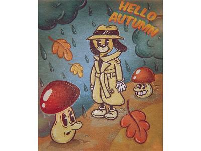 Hello Autumn halftone flat illustration flat mushrooms autumn dog cartoons cartoon illustration retro lowbrow art lowbrowart lowbrow 1930s 1930 cartoon character cartoon character character design illustration illustration art